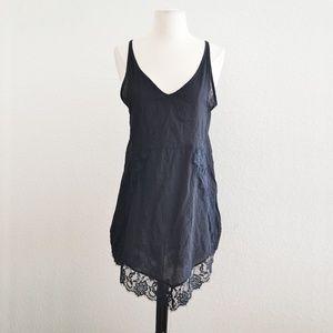 Black Lace Hem Cover Up Dress Size M